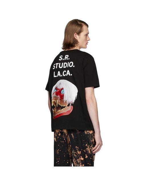 メンズ S.R. STUDIO. LA. CA. ブラック Ed. 50 ホワイト ヘア レッド スカル T シャツ Black