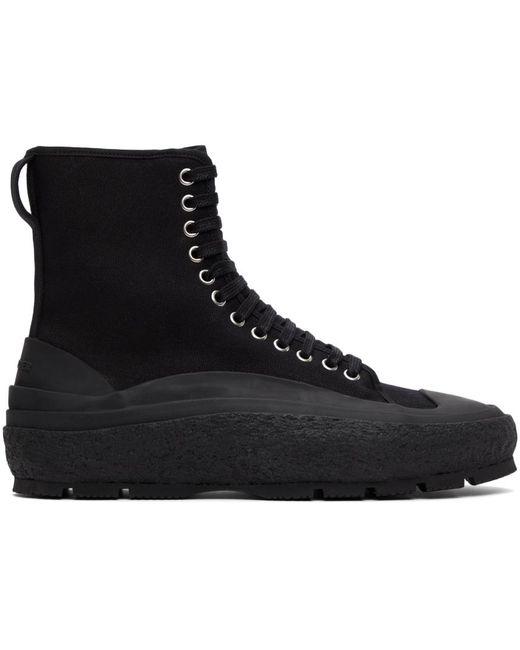 Jil Sander Black Canvas Chunky Sneakers for men