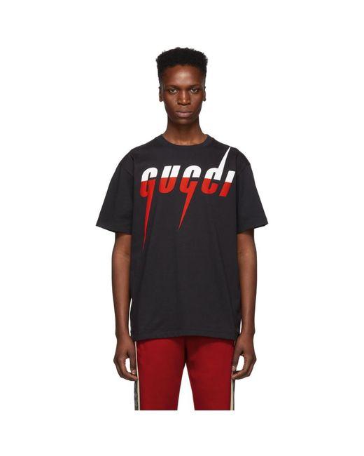 メンズ Gucci ブラック ロゴ T シャツ Black