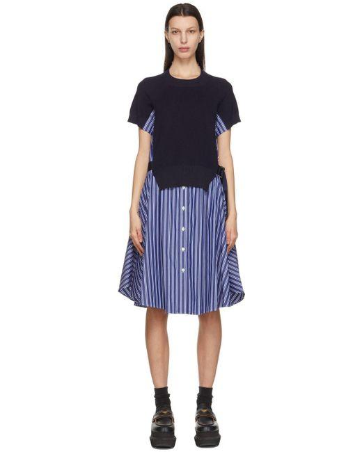 Sacai ネイビー & ブルー ストライプ Knit Panel ドレス Blue