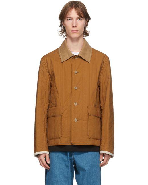 メンズ Lanvin リバーシブル ブラウン キルティング シャツ ジャケット Brown