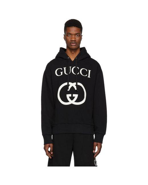 メンズ Gucci ブラック インターロッキング G フーディ Black