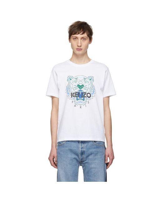 メンズ KENZO ホワイト タイガー T シャツ White
