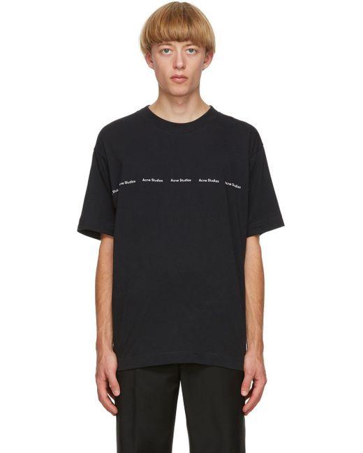 メンズ Acne ブラック ロゴ プリント T シャツ Black