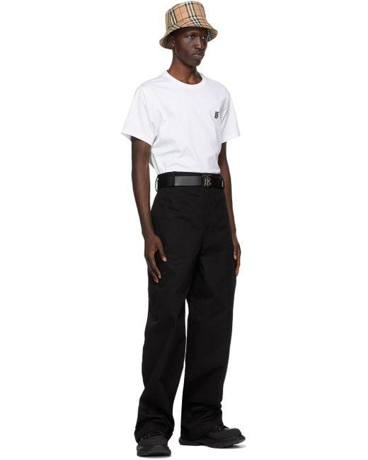 メンズ Burberry リバーシブル ブラック & ブラウン モノグラム Tb ベルト Black