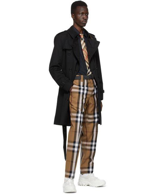 メンズ Burberry リバーシブル ブラック & グレー チェック ベルト Black