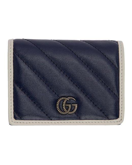 Gucci Blue Navy GG Marmont Torchon Bifold Wallet