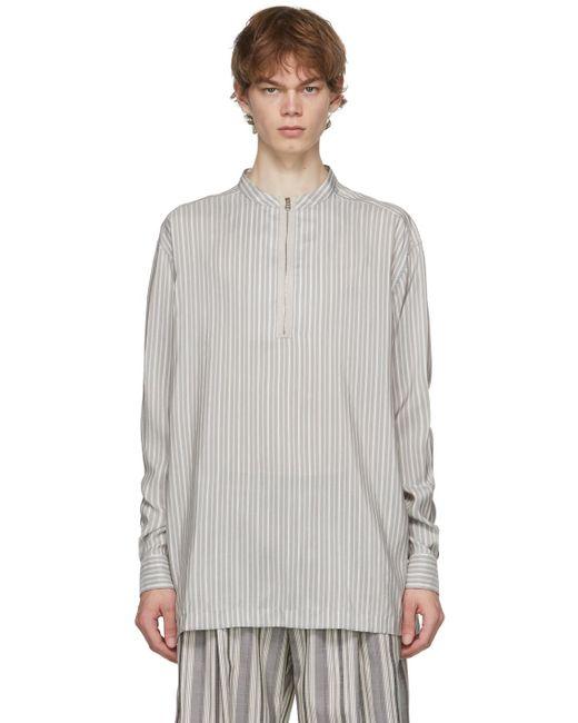 メンズ Ermenegildo Zegna グレー & ホワイト シルク ストライプ シャツ Gray