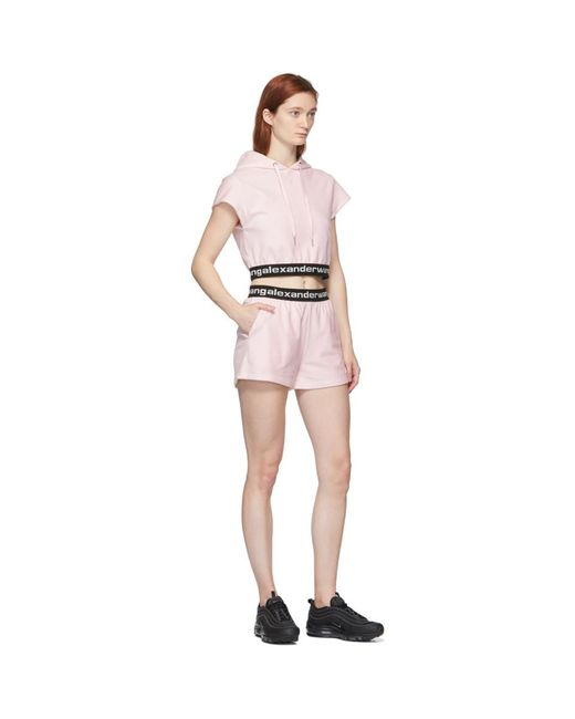 T By Alexander Wang ピンク ストレッチ ロゴ キャップ スリーブ フーディ Pink