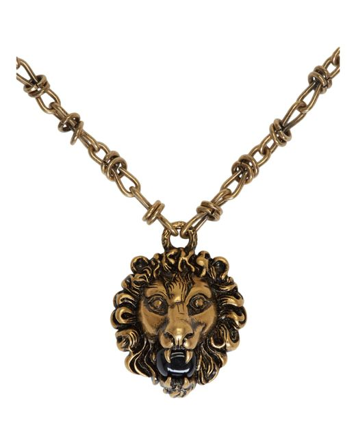 Lyst Gucci Gold Lion Head Necklace In Metallic For Men