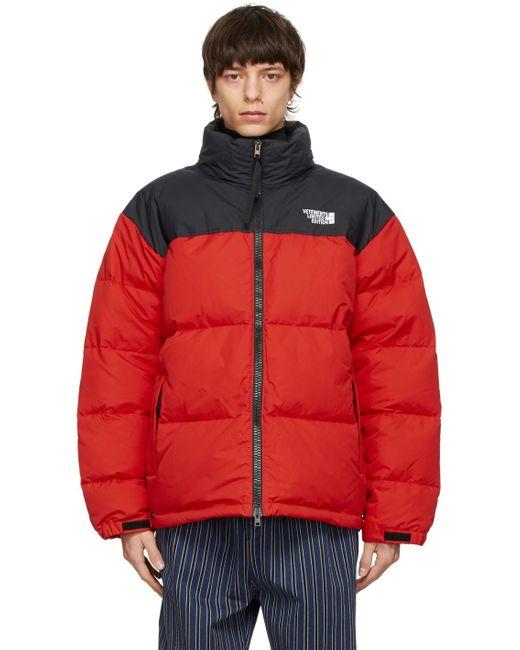 メンズ Vetements ブラック & レッド Limited Edition パファー ジャケット Red