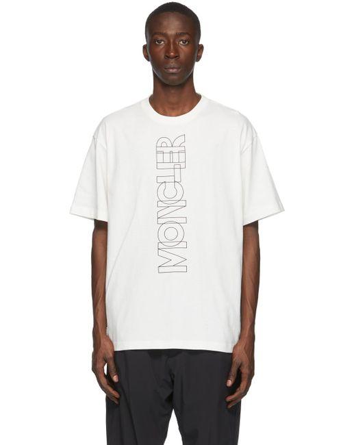 メンズ 3 MONCLER GRENOBLE オフホワイト ロゴ T シャツ White