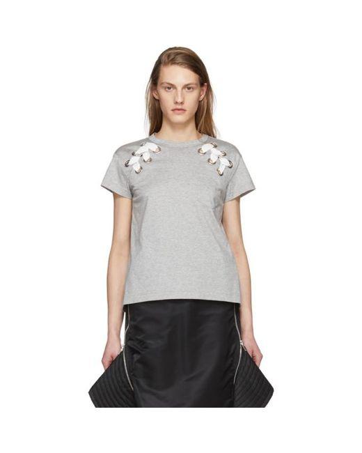 Sacai | Gray Grey Lace-up T-shirt | Lyst