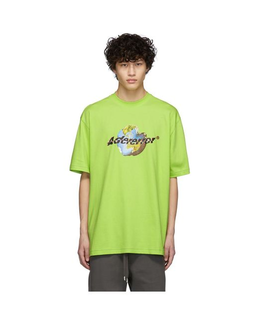 メンズ ADER ERROR ロゴ Tシャツ Green