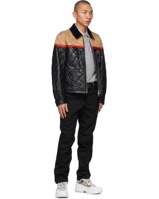 メンズ Burberry ブラック Eキャンバス Tb モノグラム ベルト Black