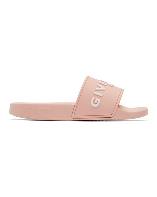 Givenchy ピンク ロゴ プール スライド Pink