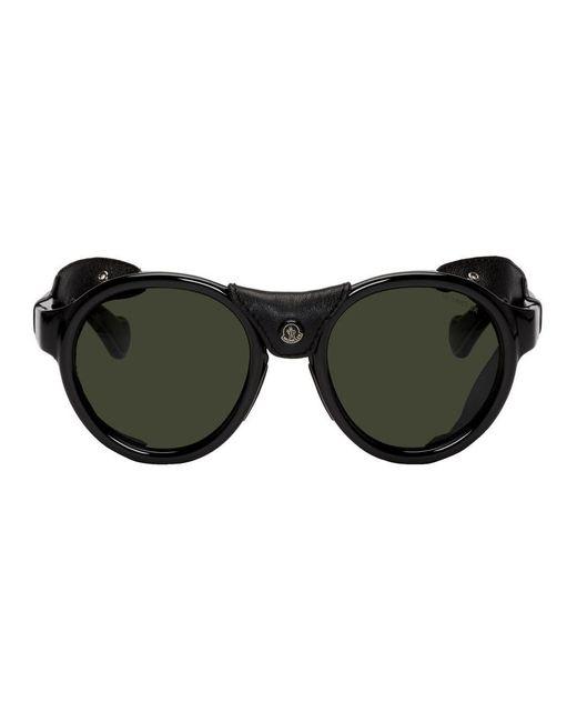 メンズ Moncler ブラック レザー Ml0046 サングラス Black