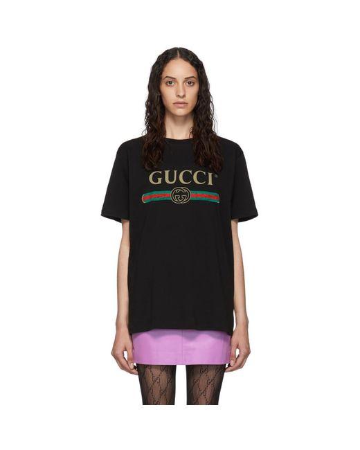 Gucci ブラック ビンテージ ロゴ T シャツ Black