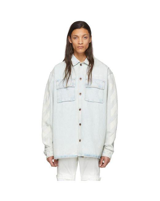 メンズ Off-White c/o Virgil Abloh ブルー デニム Diag オーバーサイズ シャツ Blue