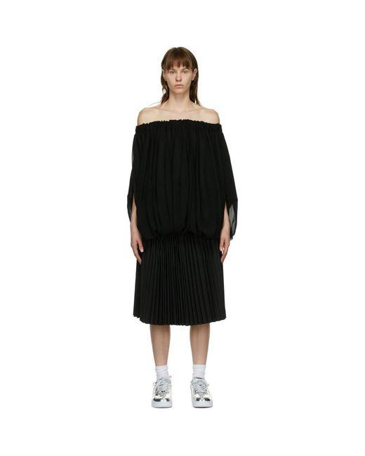 Comme des Garçons ブラック プリーツ レイヤード ドレス Black