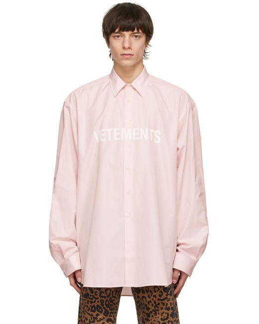 メンズ Vetements ピンク Front ロゴ シャツ Pink