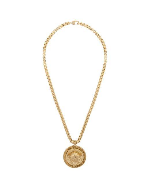 メンズ Versace ゴールド メドゥーサ ネックレス Metallic