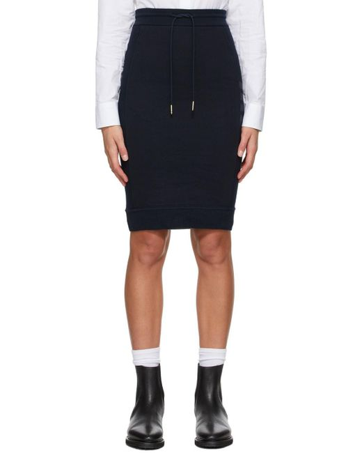 Thom Browne ネイビー ループバック 4bar Sack スカート Blue