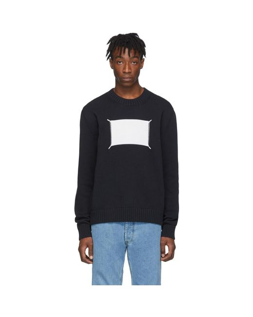メンズ Maison Margiela ブラック And オフホワイト Memory Of Label セーター Black