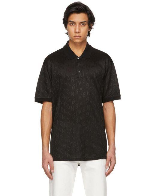 メンズ Givenchy ブラック Refracted オールオーバー ロゴ ポロシャツ Black