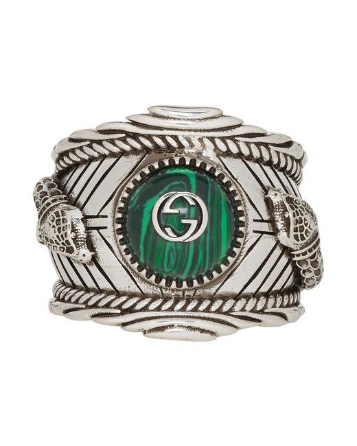 Gucci Metallic Garden Sterling Silver Plated Brass Logo Ring for men