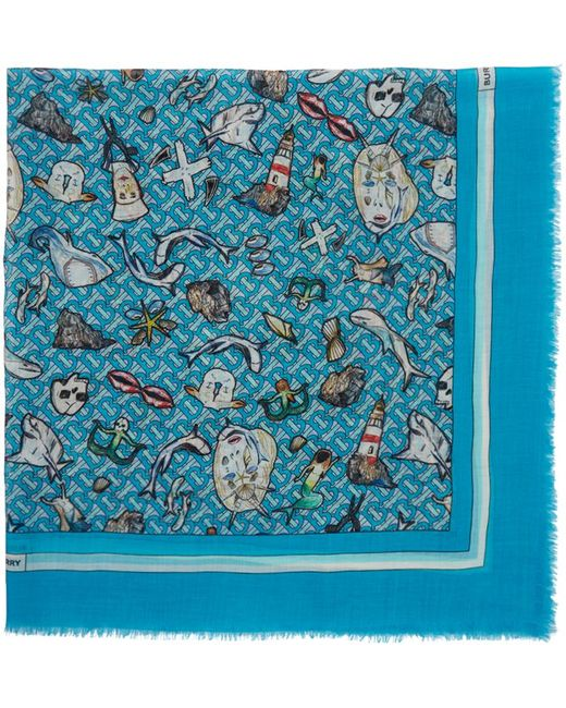 メンズ Burberry ブルー シルク ラージ Montage スカーフ Blue