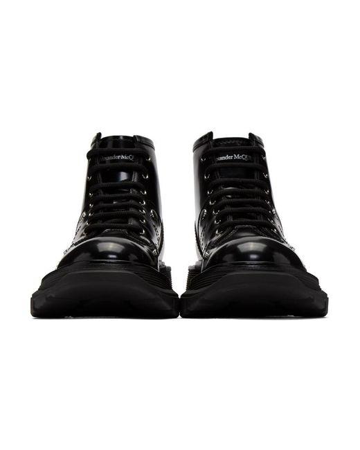 Alexander McQueen ブラック トレッド レースアップ ブーツ Black