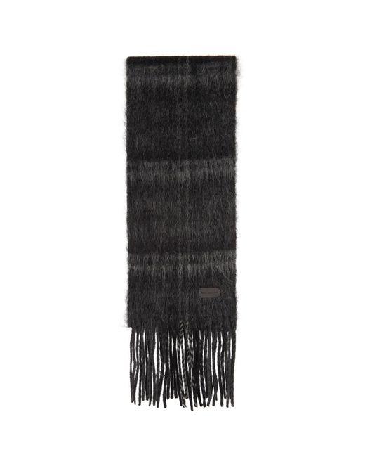 メンズ Saint Laurent ブラック And グレー タータン ミディアム マフラー Black