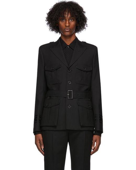 メンズ Saint Laurent ブラック ウール ミリタリー ブレザー Black