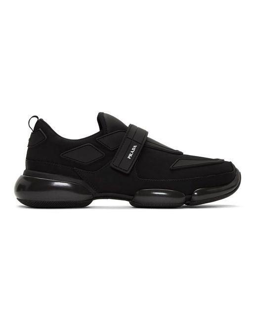 メンズ Prada ブラック ギャバジン クラウドバスト スニーカー Black