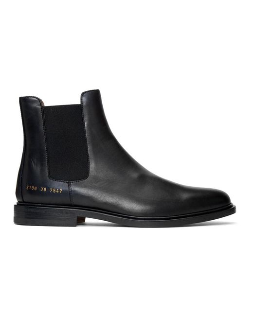 Common Projects Black Leather Chelsea Boots for men