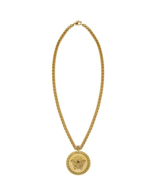 Versace | Metallic Gold Large Round Medusa Chain Necklace for Men | Lyst