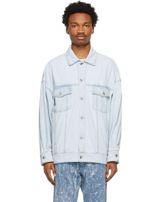 MSGM Blue Denim Embroidered Jacket for men