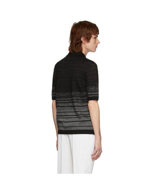 メンズ Saint Laurent ブラック And シルバー ルレックス ポロ Black
