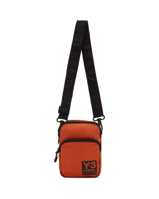 Y-3 Orange Pk Airliner Bag for men