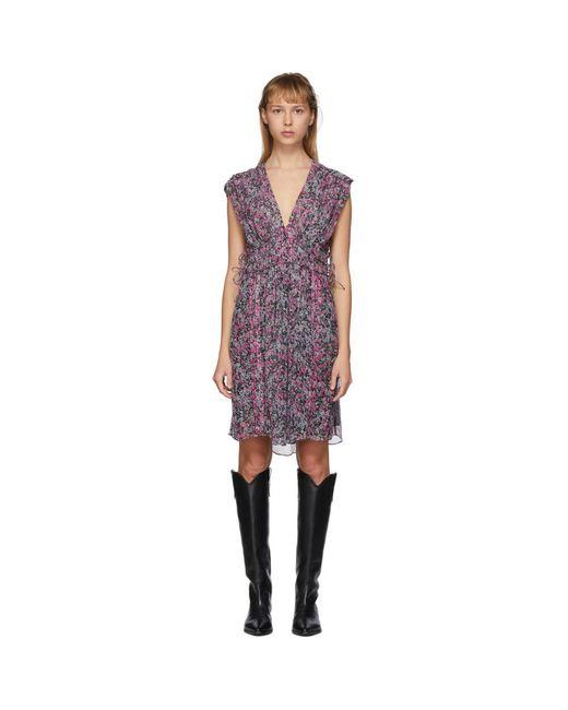 Isabel Marant ブラック And マルチカラー Oaxoli ドレス Purple