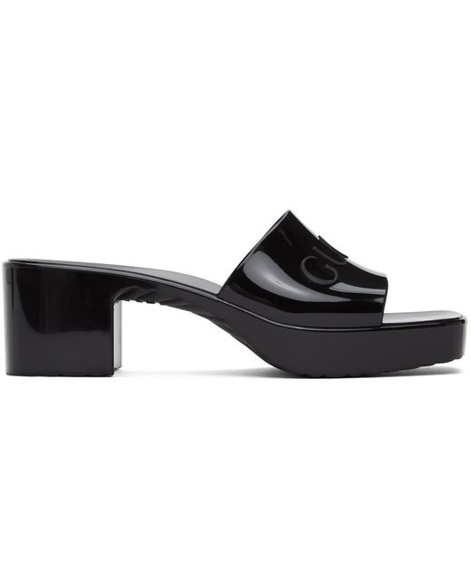 Gucci Black Logo-embossed Rubber Mules