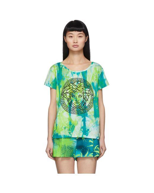 Versace グリーン ウォーターカラー メドゥーサ T シャツ Green