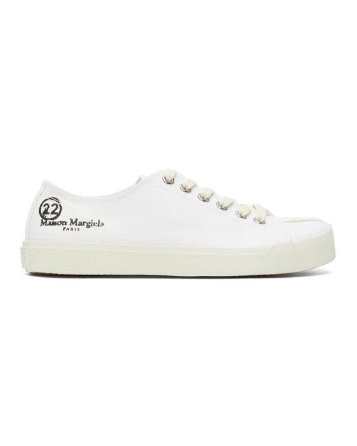 メンズ Maison Margiela ホワイト キャンバス Tabi 足袋 スニーカー White