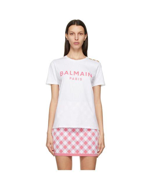 Balmain ホワイト And ピンク ロゴ T シャツ White