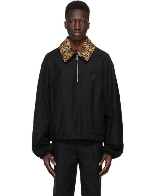 メンズ we11done ブラック チーター Pullover ジャケット Black