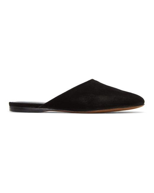 Alumnae - Black Suede Asymmetric Round Toe Mules - Lyst