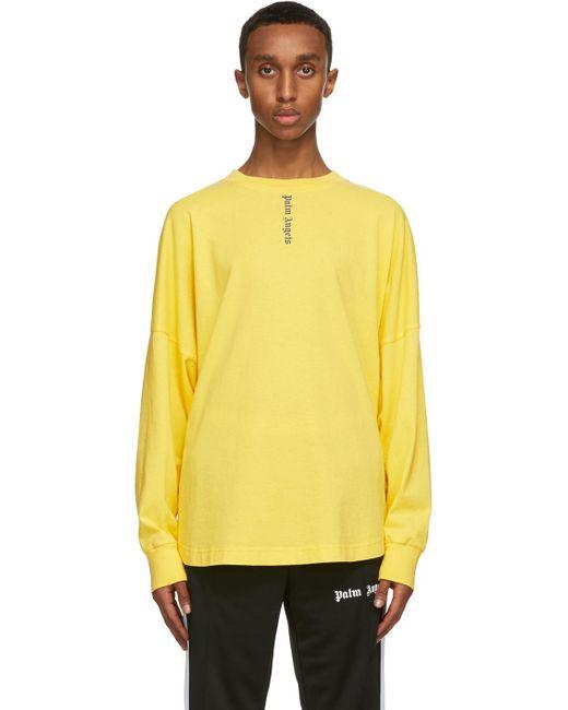 メンズ Palm Angels イエロー Ns ロゴ ロング スリーブ T シャツ Yellow