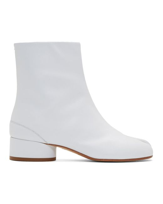Maison Margiela ホワイト ロー ヒール Tabi ブーツ White