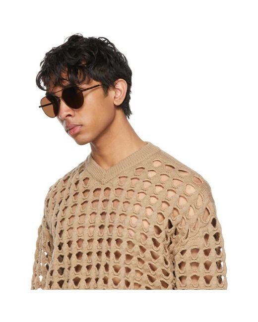 Bottega Veneta Brown Aviator Sunglasses for men